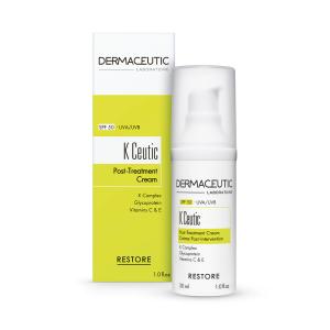 Verpakking en fles K Ceutic, een herstellende crème met SPF50 die de huid voedt, verzacht en beschermt.