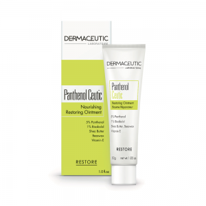 Verpakking en fles Panthenol Ceutic, een intensief herstellende, hydraterende en kalmerende zalf.